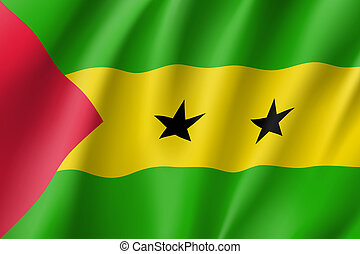 Sao Tome and Principe flag. National patriotic symbol in...
