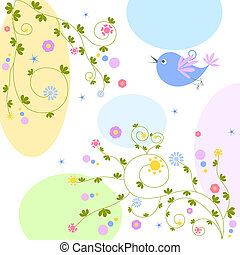 bird on floral background