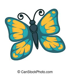 Blue butterfly with yellow ornament