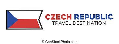 Czech Republic flag with travel destination words - Czech...