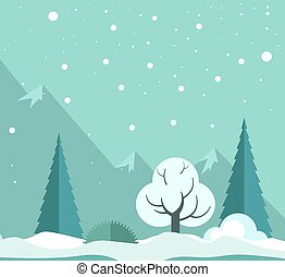 Snowy winter forest - Vector illustration of snowy winter...