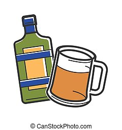 Bottle of liquor and beer glass - Vector illustration of...