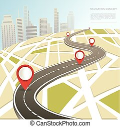 Navigation map with location pinc vector car road route -...