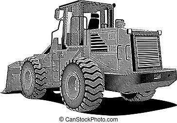 bulldozer_engraving - detailed vectorial image of bulldozer...