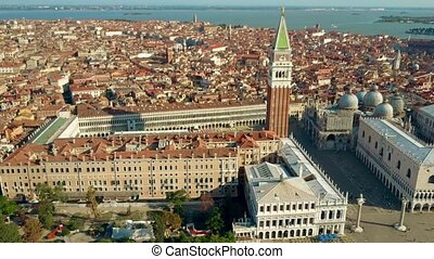 Establishing aerial shot of Venice involving famous Piazza...
