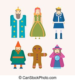 Fairy tale characters cartoon flat vector isolated icons set...