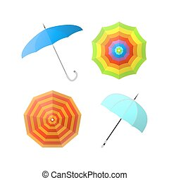 Set of colorful umbrellas from different angles vector illustrations