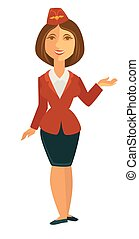 Smiling stewardess in uniform - Vector illustration of...