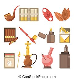 Smoking appliances and cigarettes accessories vector flat...