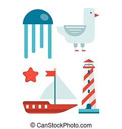 Marine themed set of isolated cartoon minimalistic illustrations