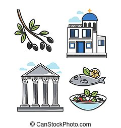 Greek architectural and food symbols isolated illustrations...