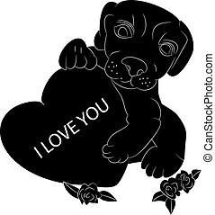 Silhouette of a dog in the hands holds the heart, I love you, cartoon on a white background.