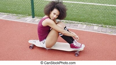 Adorable young girl on skate - Beautiful young model in...