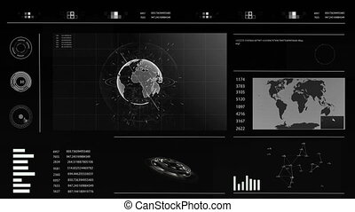 Future concept virtual touch user interface HUD with a world...