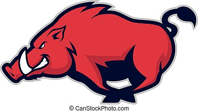 Wild hog or boar mascot - Clipart picture of a wild hog or...