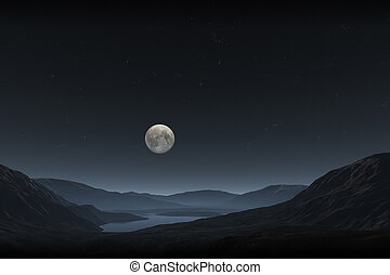 full moon - An image of a night landscape with a full moon
