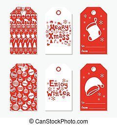 Christmas and New Year gift tags. Cards xmas set with hand drawing elements. Collection of holiday paper label in red and white. Seasonal badge sale design. Texture. Print. Vector illustration.