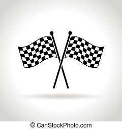 checkered flags icon on white background