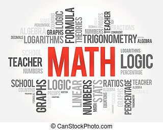 Math word cloud collage, education concept background