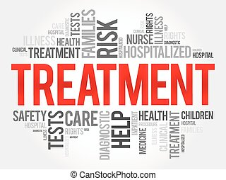 Treatment word cloud collage, health concept background