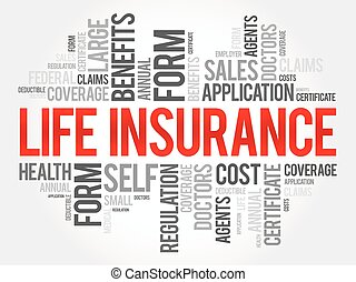 LIFE Insurance word cloud collage, healthcare concept...