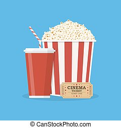 Popcorn with cup of soda and cinema ticket.