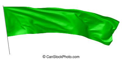 Long green flag with flagpole waving in wind