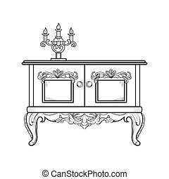 Baroque dressing table engraved. Vector intricate ornamented structure. Victorian Royal Style decor