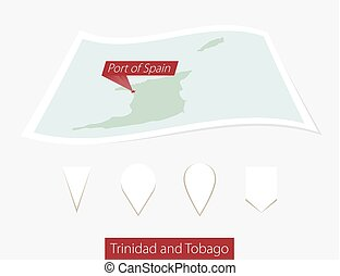 Curved paper map of Trinidad and Tobago with capital Port of Spain on Gray Background. Four different Map pin set.