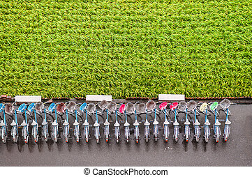 Bicycles and rice field in Chihshang, Taitung, Taiwan. Aerial view