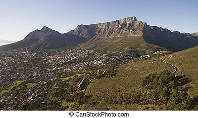 Aerial view of Table Mountian, Cape Town, South africa