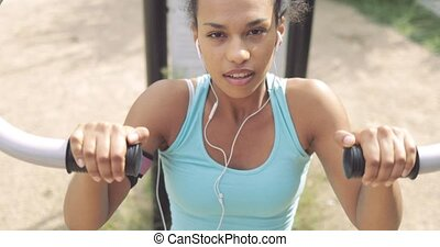 Determined sportswoman working out - Portrait of young...
