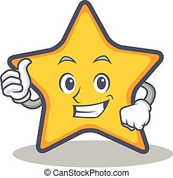 Thumbs up star character cartoon style