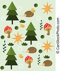 Pine tree mushrooms Forrest background Vector