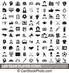 100 team player icons set, simple style