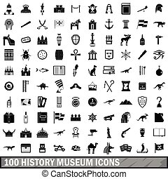 100 history museum icons set, simple style