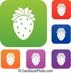 Strawberry set collection - Strawberry set icon in different...