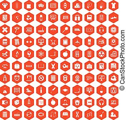 100 learning kids icons hexagon orange