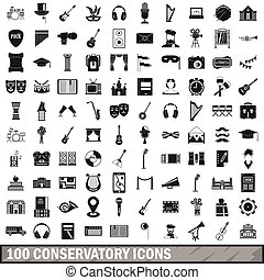 100 conservatory icons set, simple style - 100 conservatory...