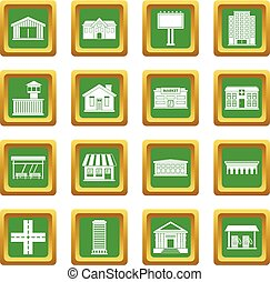 City infrastructure items icons set green - City...