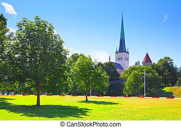 Old town of Tallin - Park near Old town of Tallin, Estonia