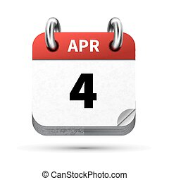 Bright realistic icon of calendar with 4 april date isolated...