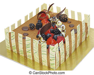 chocolate marquise with fresh strawberry, blackberry,...