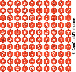 100 light icons hexagon orange