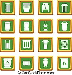 Garbage container icons set green - Garbage container icons...