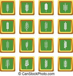 Ear corn icons set green - Ear corn icons set in green color...