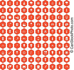 100 light source icons hexagon orange