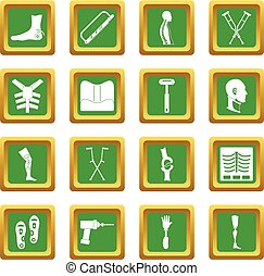 Orthopedics prosthetics icons set green - Orthopedics...