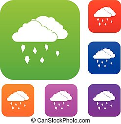 Clouds and hail set collection - Clouds and hail set icon in...