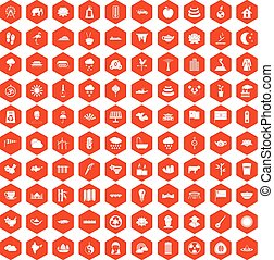 100 lotus icons hexagon orange - 100 lotus icons set in...